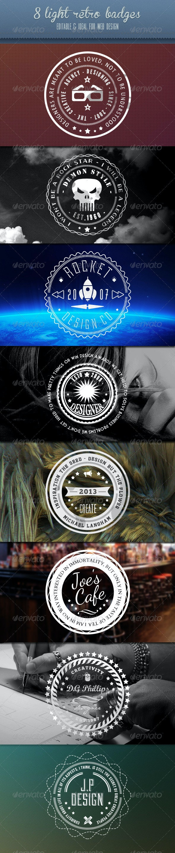 Retro Badges - Vintage White Set - Badges & Stickers Web Elements