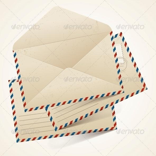 Stack of Old  Vintage Envelopes. - Patterns Decorative