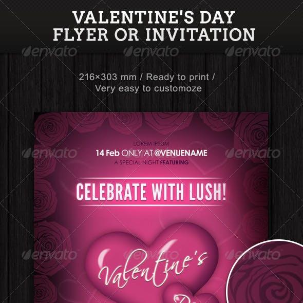 Valentine's Day Flyer Or Invitation
