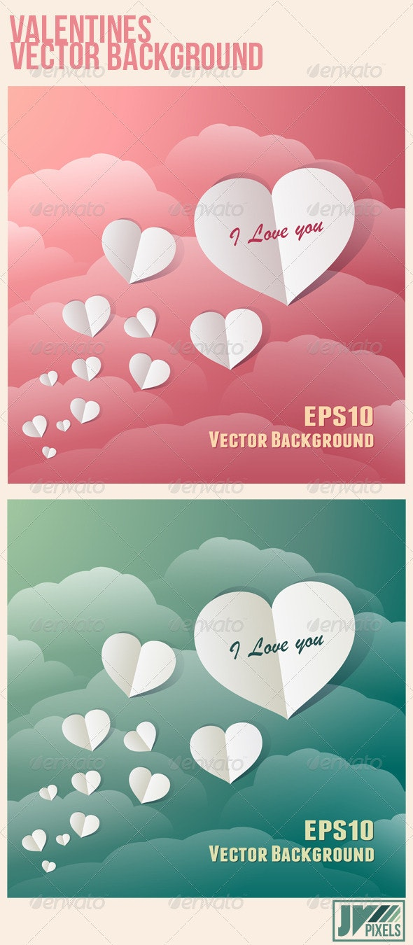 Flying Paper Hearts In A Vintage Sky - Valentines Seasons/Holidays