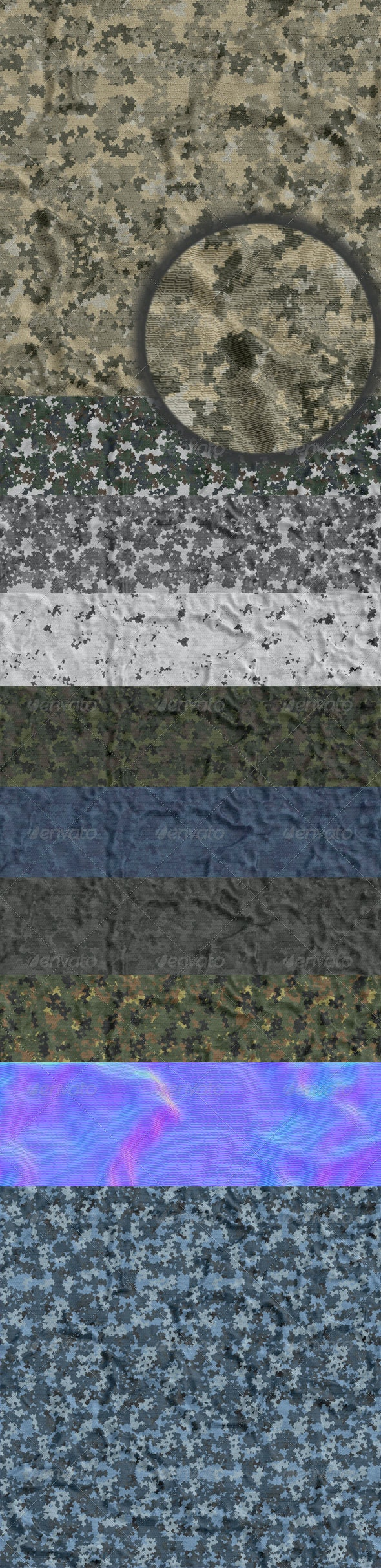 Digital Camouflage Rip-Stop Texture Pack - Fabric Textures