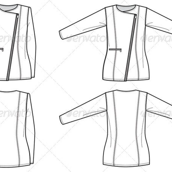 Flat Fashion Sketches for Womens Structured Jacket