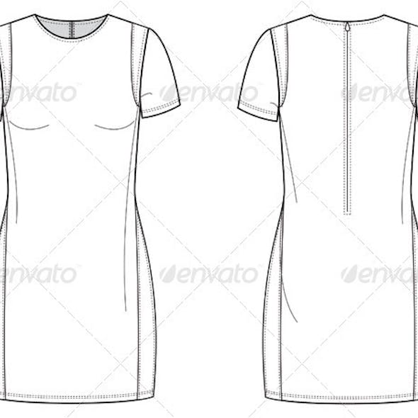 Flat Fashion Sketches for Dress with Insets