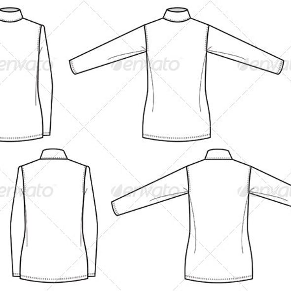 Flat Fashion Sketches for Womens Mock Turtleneck