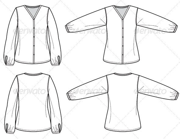 Fashion Flat Sketches for Womens Silk Blouse - Man-made Objects Objects