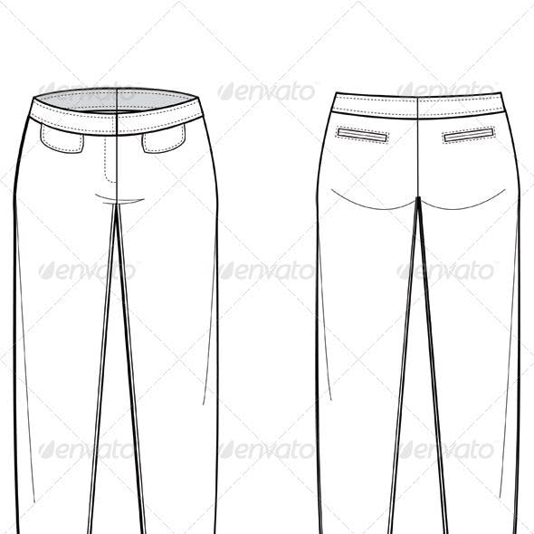 Fashion Flat Sketches for Womens Trousers