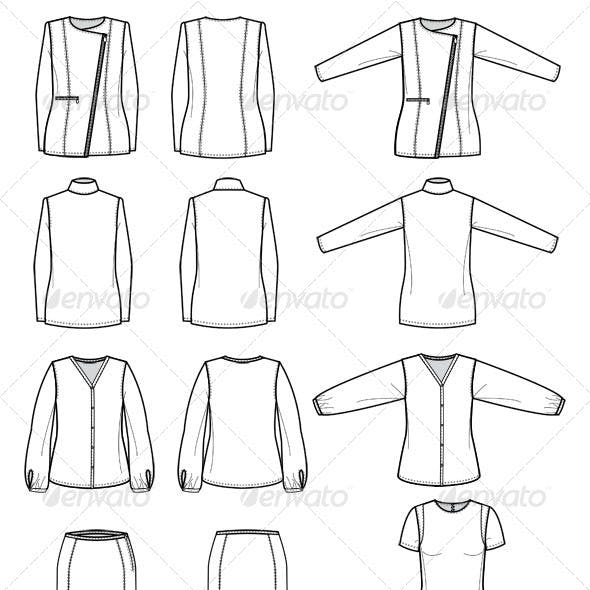 Fashion Flat Sketches for Womens Work Wear