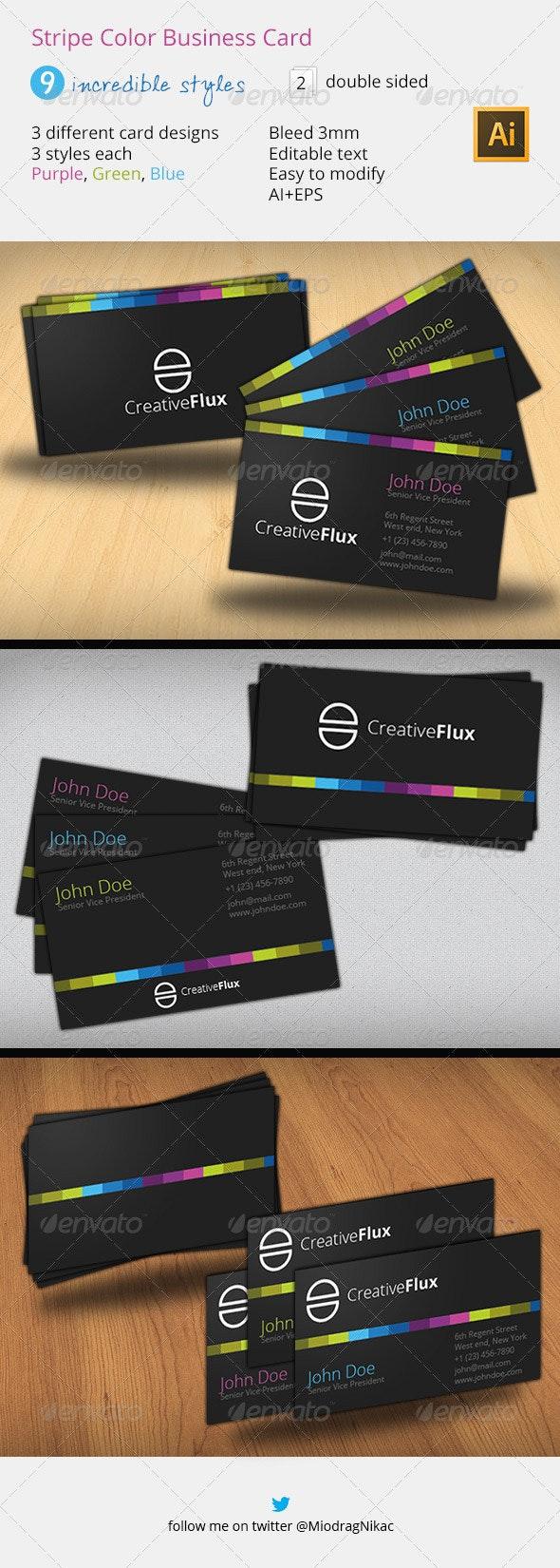 Stripe Color Business Card - Creative Business Cards