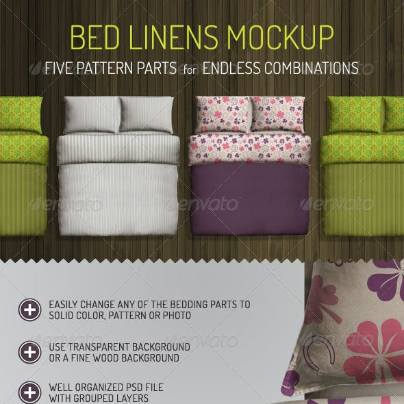 Bed Linens Mock Up - Bedding Set Template