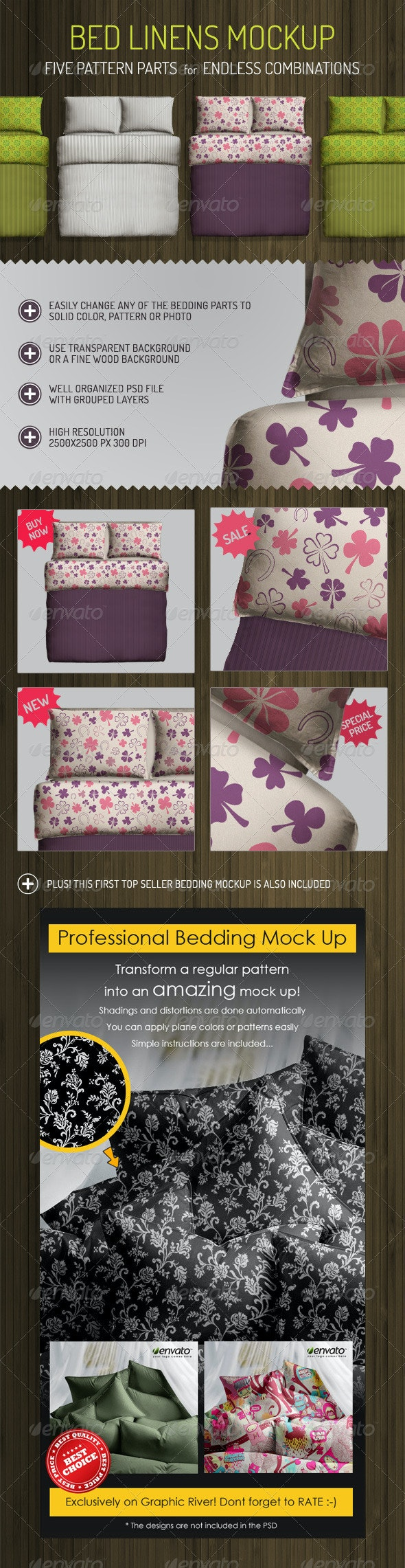 Bed Linens Mock Up - Bedding Set Template - Miscellaneous Product Mock-Ups