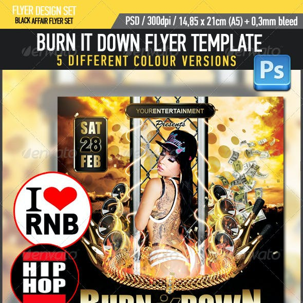 Burn Down R&B HipHop Flyer Template