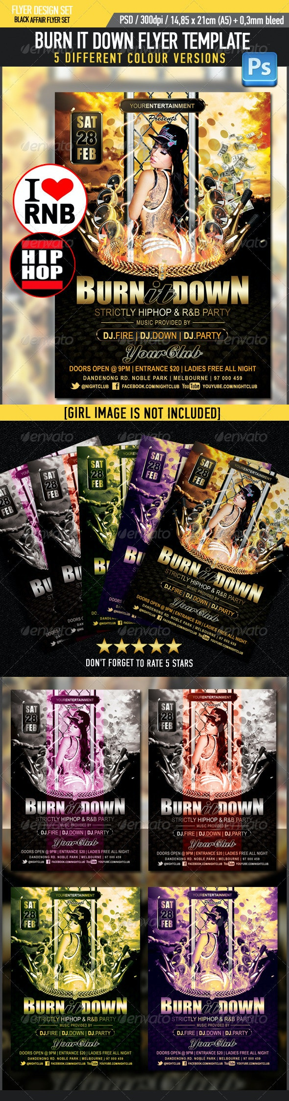 Burn Down R&B HipHop Flyer Template - Clubs & Parties Events
