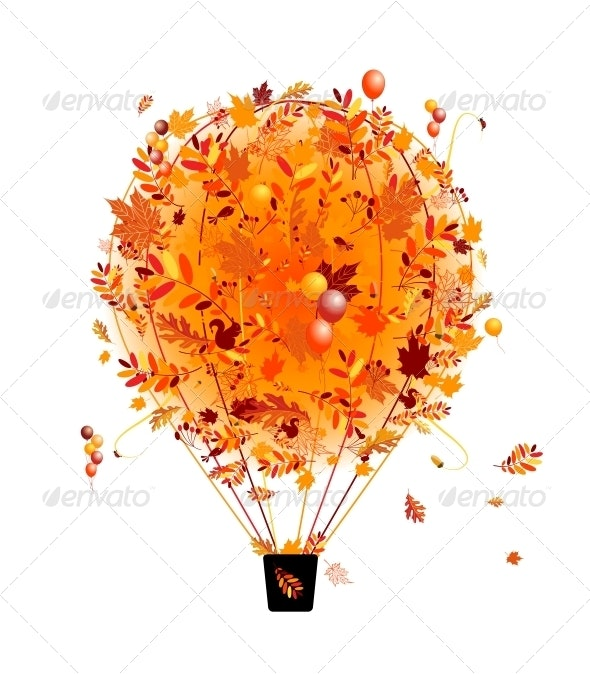 Autumn Season Concept - Air Balloon with Leaves - Seasons Nature