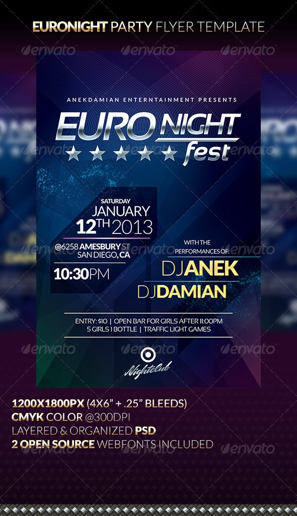EURONIGHT Party Flyer Template - Clubs & Parties Events