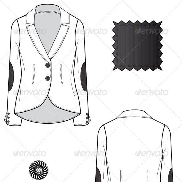 Fashion Flat Sketches for Women's Leather Blazer