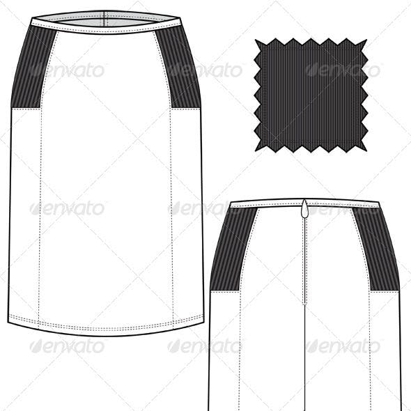 Fashion Flat Sketches for Leather Pencil Skirt