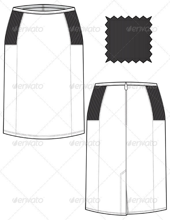 Fashion Flat Sketches for Leather Pencil Skirt - Man-made Objects Objects