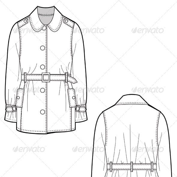 Fashion Flat Sketches for Leather Trench Coat