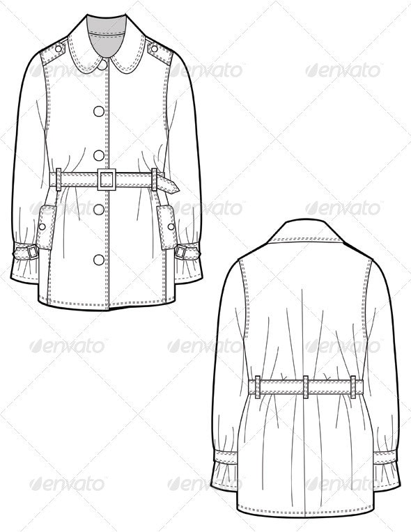 Fashion Flat Sketches for Leather Trench Coat - Man-made Objects Objects