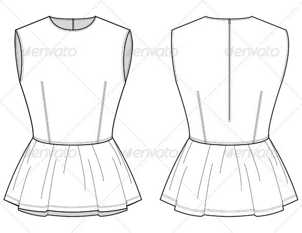 Fashion Flat Sketches for Leather Peplum Top by studio524