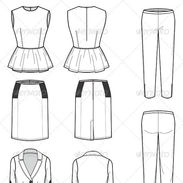 Fashion Flat Sketches for Womens Leather Wear