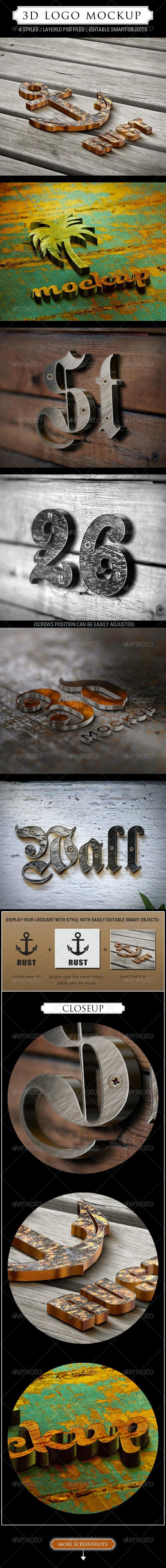 3D Logo Mockup - 6 Styles - Logo Product Mock-Ups
