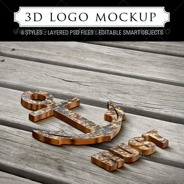3D Logo Mockup - 6 Styles