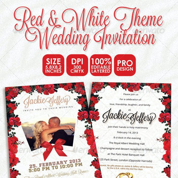Red & White Theme Wedding Invitation Card