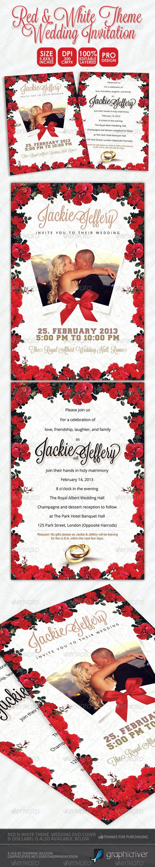 Red & White Theme Wedding Invitation Card - Weddings Cards & Invites