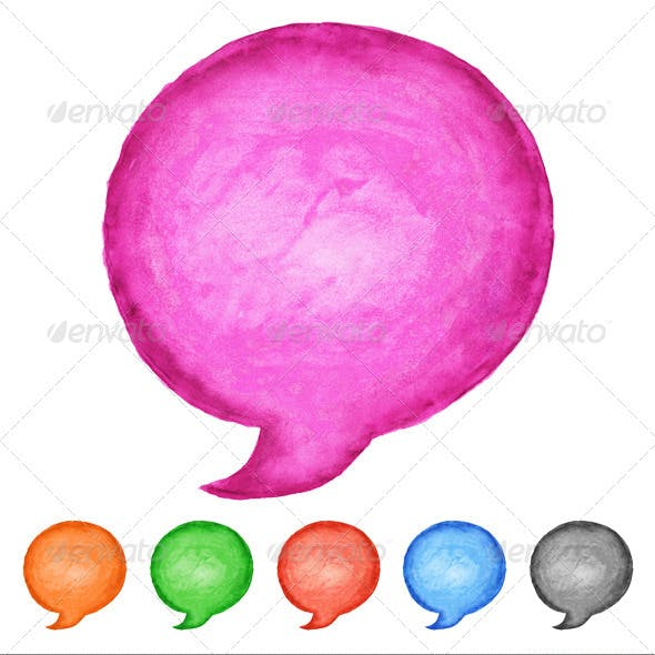 6 Speech Bubble Watercolor Circle Shape