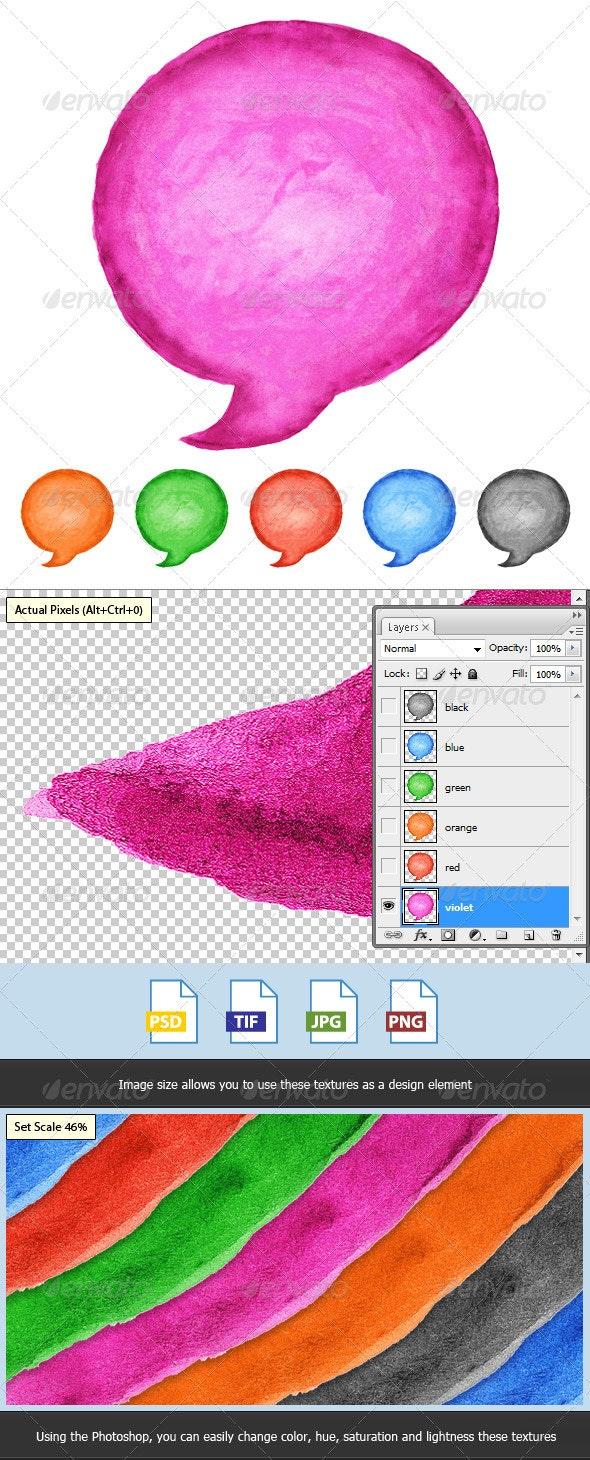 6 Speech Bubble Watercolor Circle Shape - Decorative Symbols Decorative