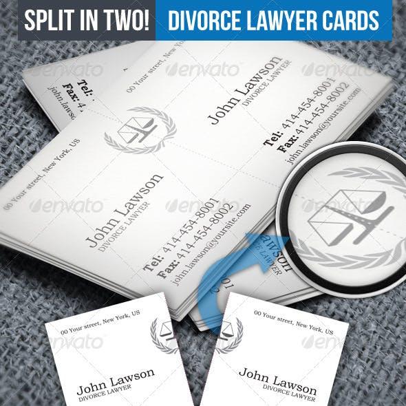 Divorce Lawyer Split Business Card
