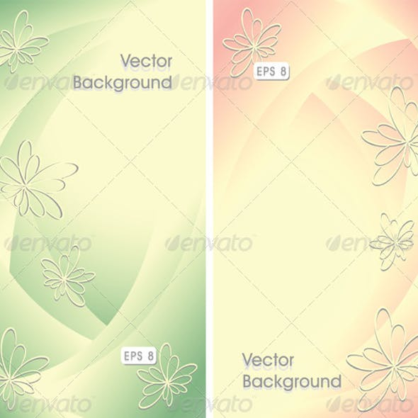 Two Abstract Backgrounds with Flowers
