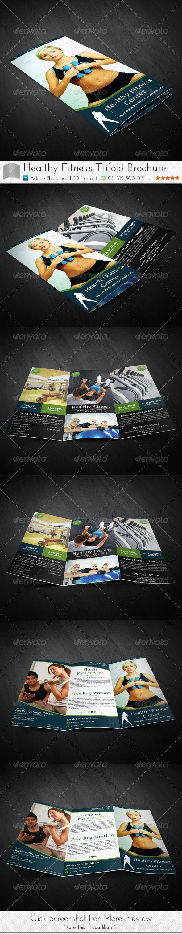 Healthy Fitness Trifold Brochures - Brochures Print Templates