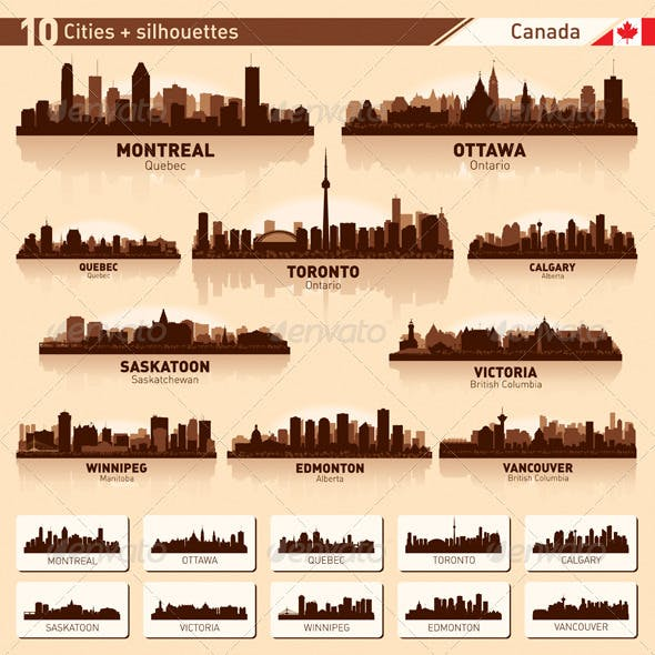 City Skyline Set - Canada Vector Silhouettes