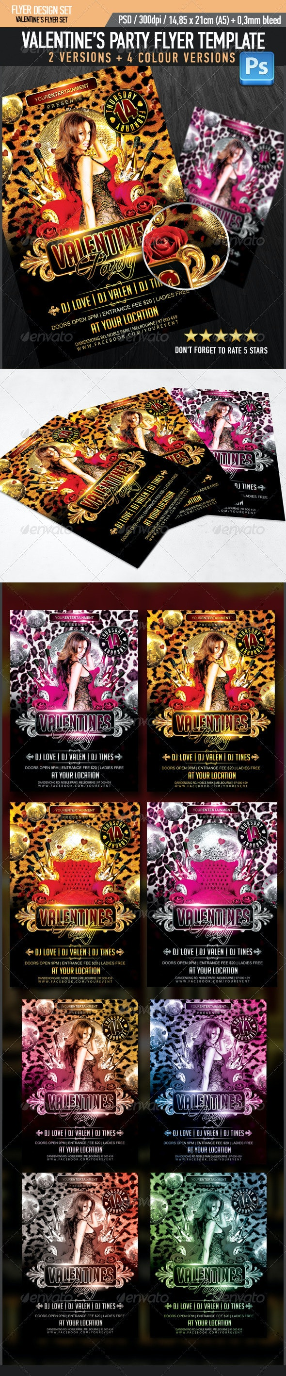 Valentine's Party Flyer Template - Clubs & Parties Events