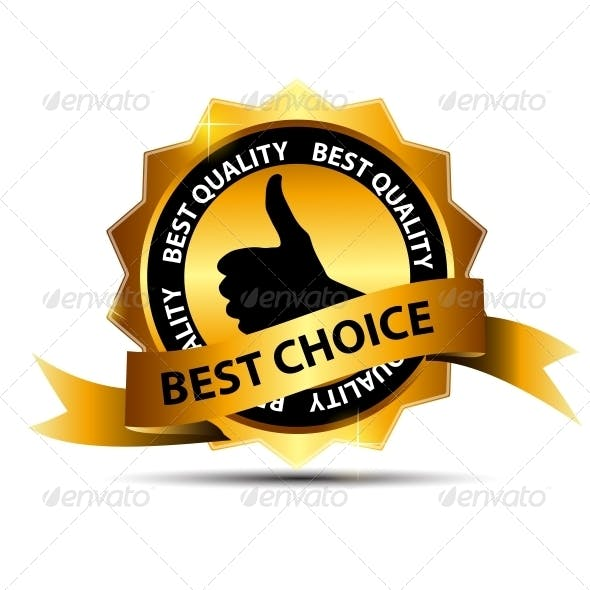 Vector Best Choice Label with Gold Ribbon