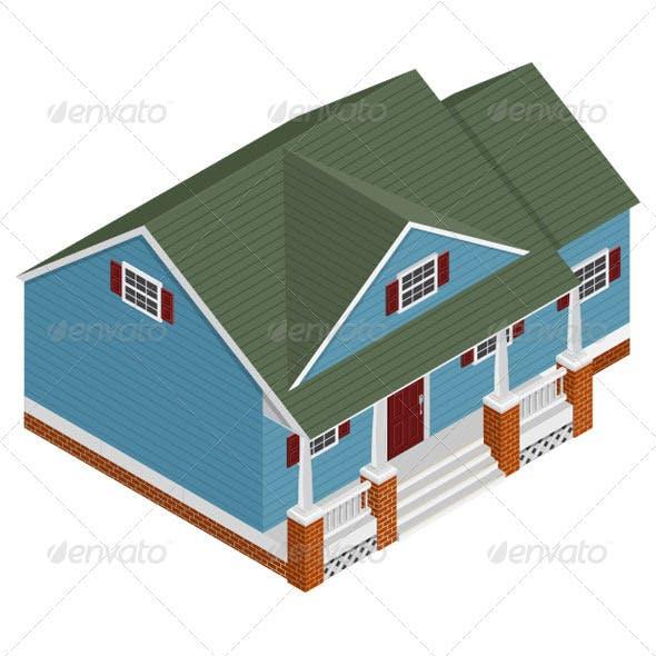 Isometric Cape Cod Style House