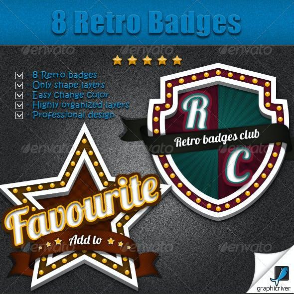 8 Retro Badges