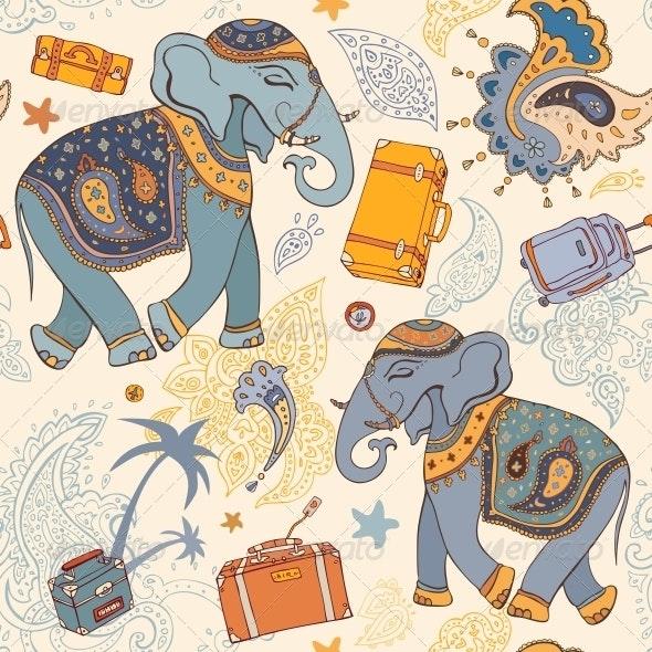 Vector Illustration of an Elephant - Travel Pattern - Patterns Decorative