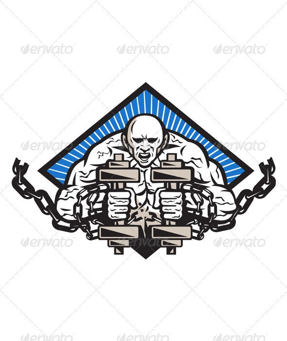 Strongman With Dumbbell In Chains - People Characters