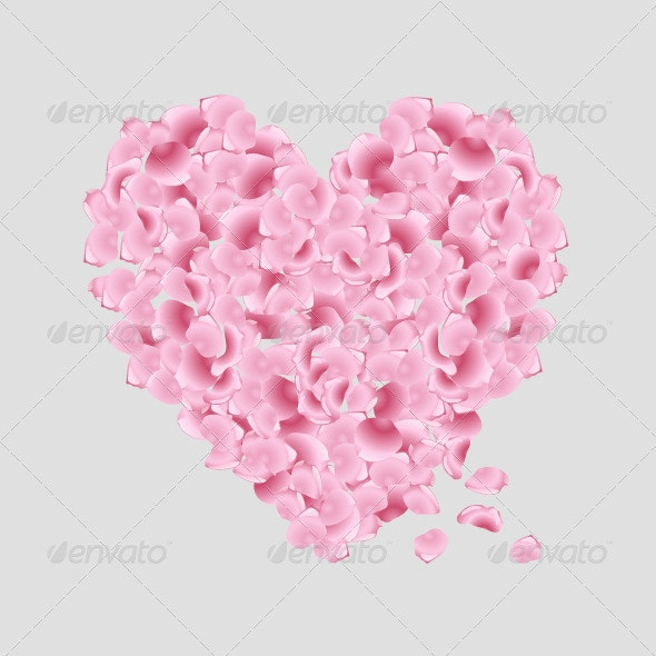 Heart with Pink Rose Petals - Valentines Seasons/Holidays