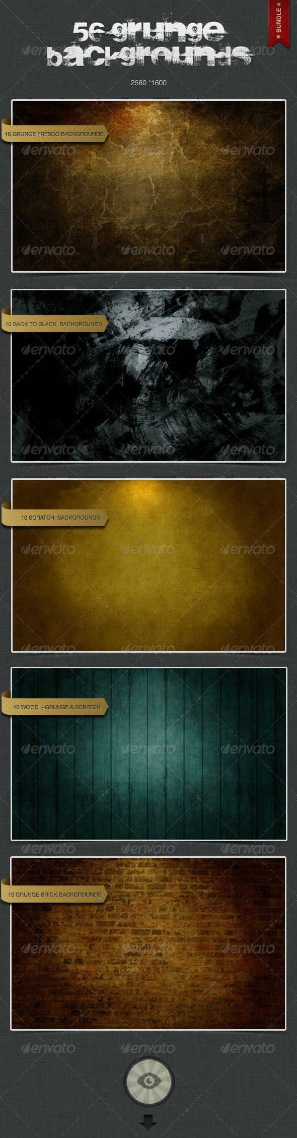 56 Grunge Backgrounds - Bundle Pack 1 - Backgrounds Graphics