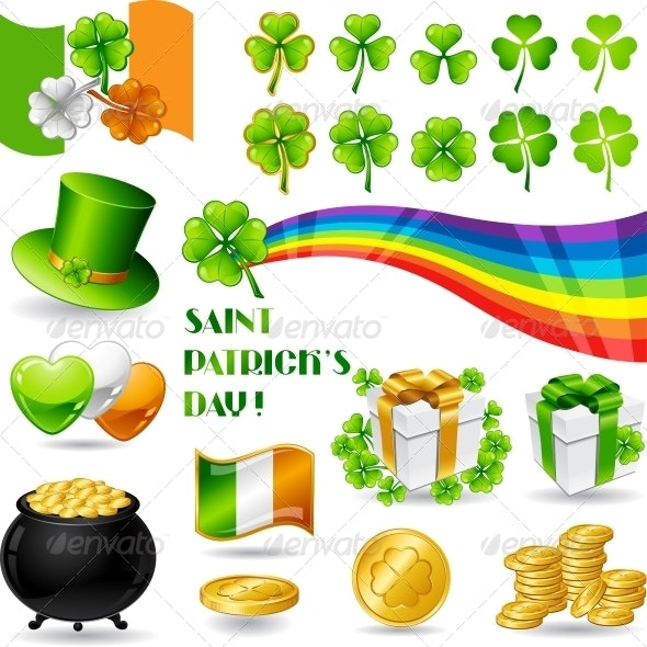 Collection illustrations of Saint Patrick's Day. - Decorative Symbols Decorative