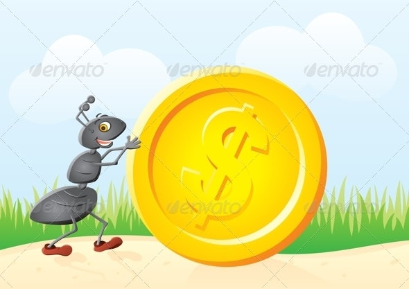 Ant and coin - Animals Characters