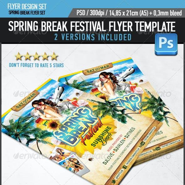 Spring Break Festival Party Flyer Template