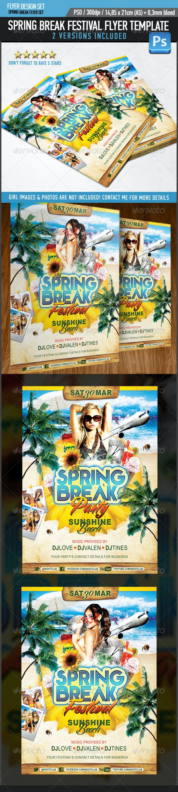 Spring Break Festival Party Flyer Template - Events Flyers