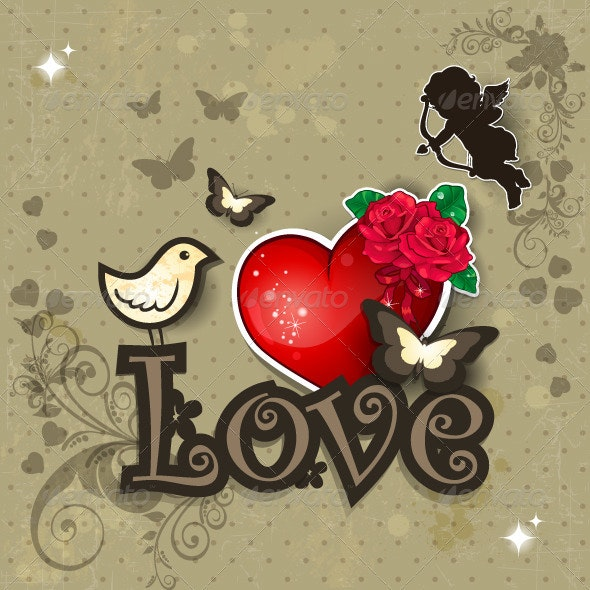 Lolove heart and bird - Valentines Seasons/Holidays