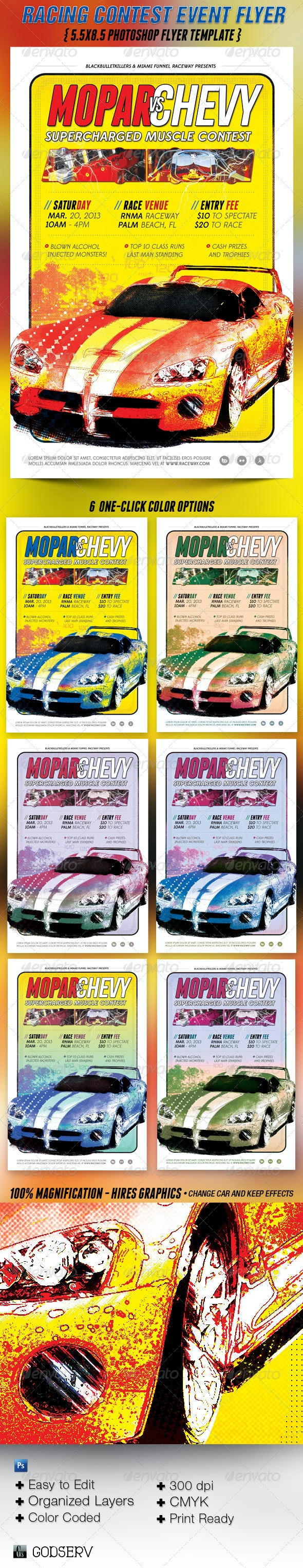 Car Racing Contest Flyer Template - Sports Events