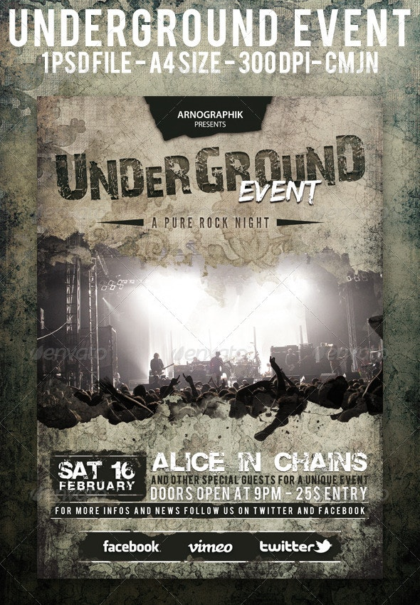 Underground Event Flyer A4 - Events Flyers